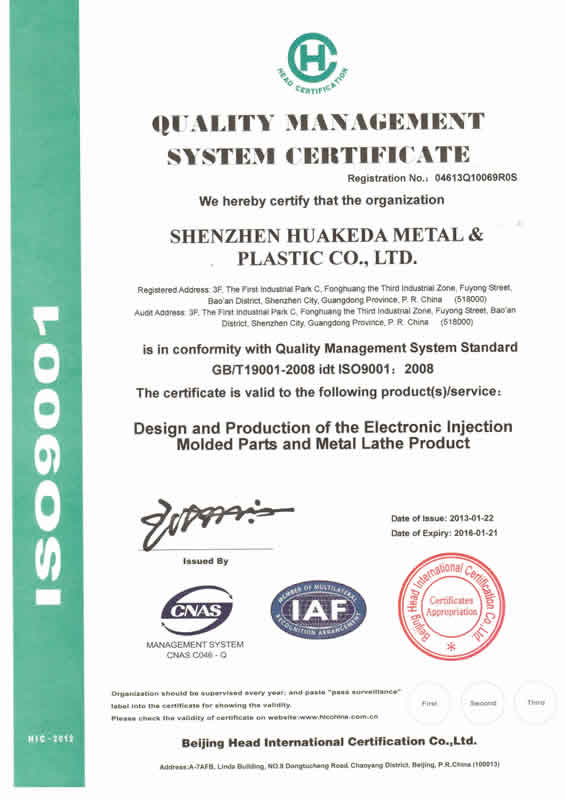 QUALITY MANAGEMENT SYSYTEM CERTIFICATE ISO9001